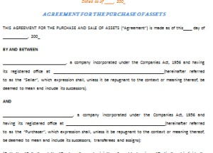 Asset Purchase Agreement Template – Best Example