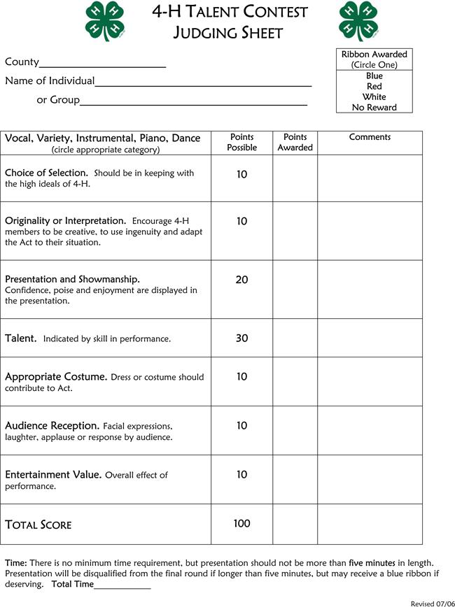 Talent Contest Judging Score Sheets