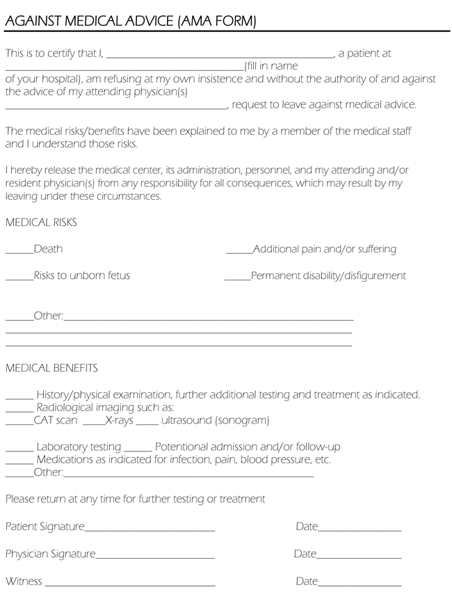Attirant Against Medical Advice Form