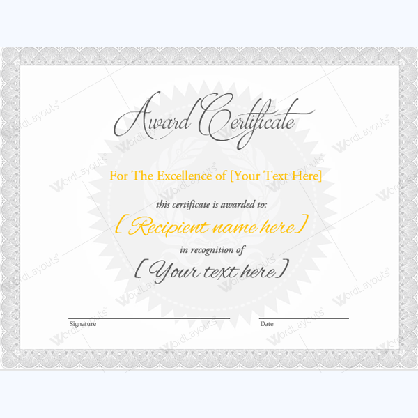 award certificate templates word