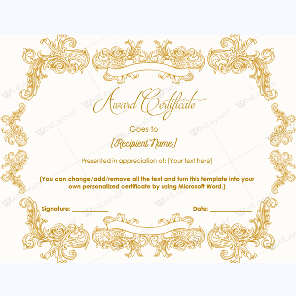 award certificate templates free printable documents