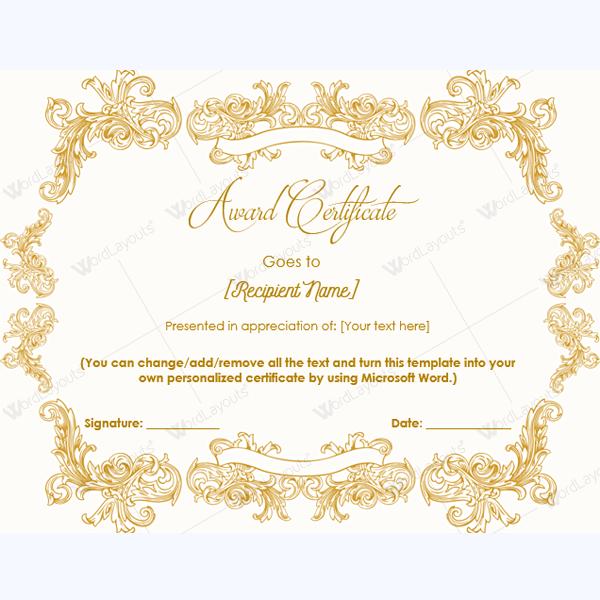 blank award certificate template