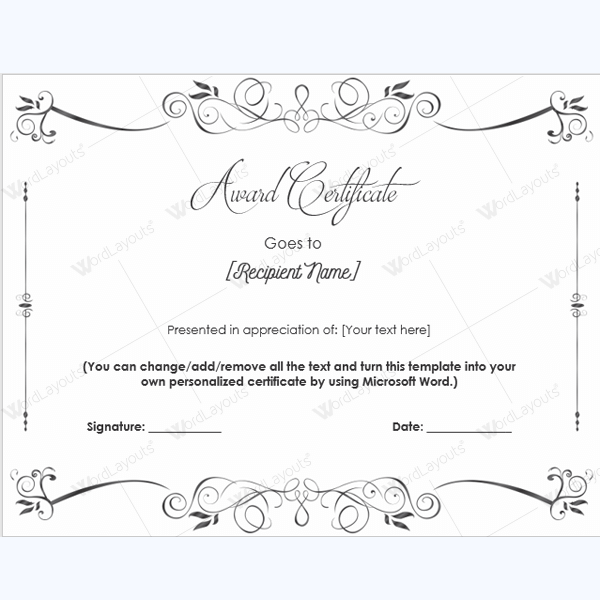Award Certificate Templates Free Printable Documents – Award Word Template