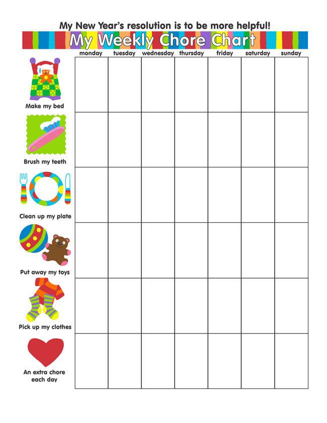 Blank Weekly Chore Charts