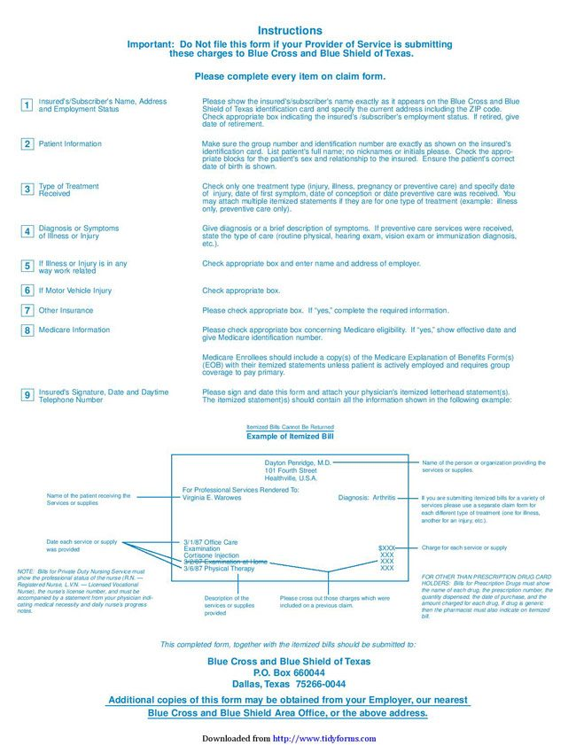 Blue Cross Blue Shield Association Medical Claim Form