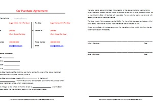 car purchase agreement template best samples
