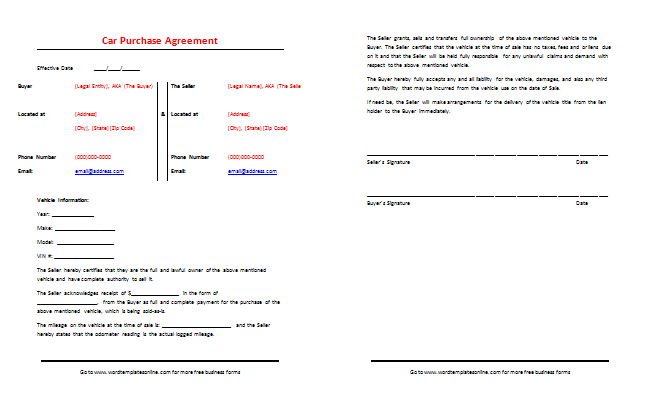 Car Purchase Agreement Template Best Samples – Selling Car Contract Template