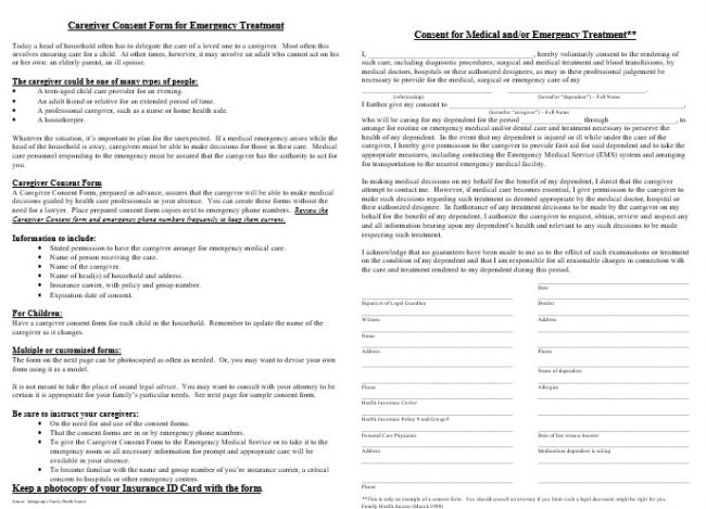 Medical Consent Form Samples
