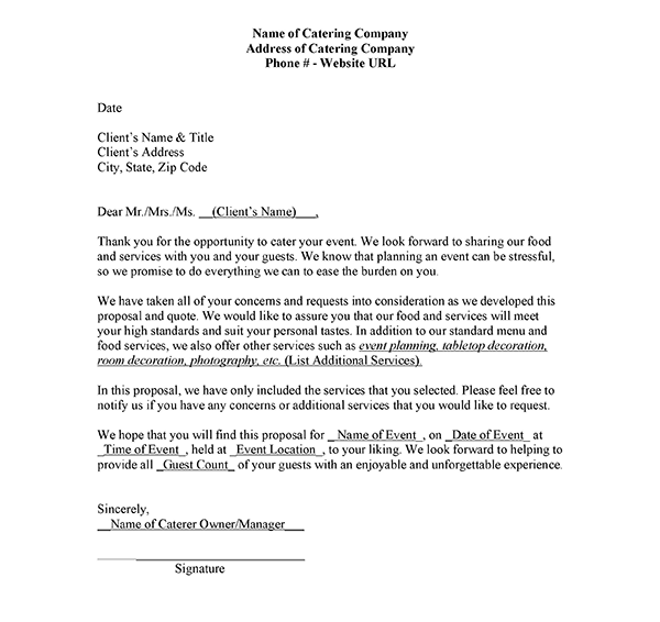 Catering-Quotation-Sample-Letter Quote Template Letter Samples on company introduction, university petition, campaign fundraising, resume cover, employment termination, professional cover, donation request, character reference, employee termination, for kids, business proposal,