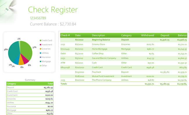 open office checkbook template