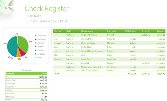 checkbook balance template