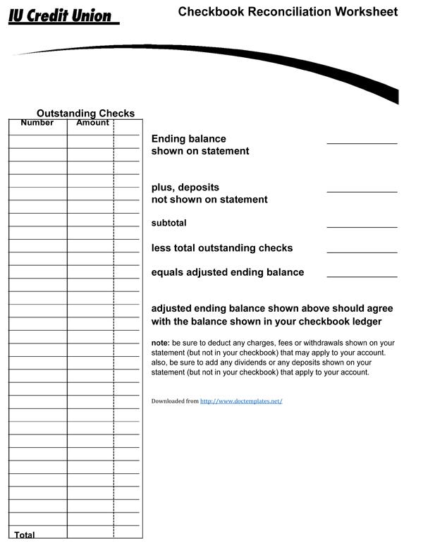 Checkbook Register Template – Check Register Worksheet