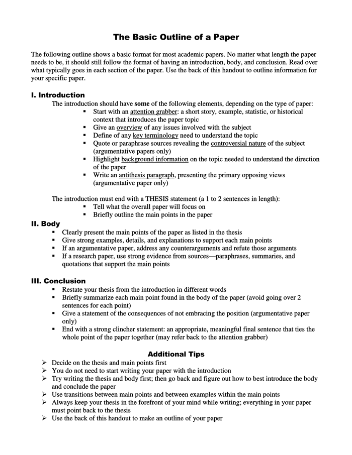 college outline paper research Writing a research paper this page lists some of the stages involved in writing a library-based research paper although this list suggests that there is a simple, linear process to writing such a paper, the actual process of writing a research paper is often a messy and recursive one, so please use this outline as a flexible guide.