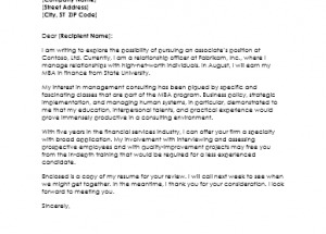 Cover Letter for Management Consultant Resume