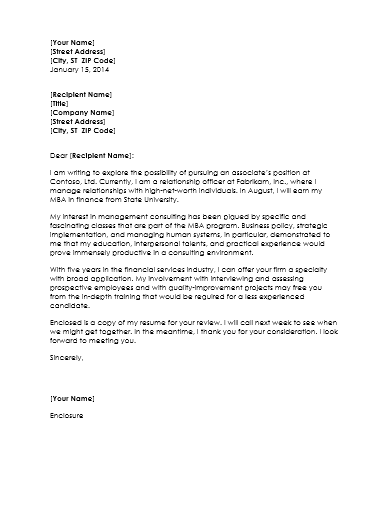 Samples of cover letter for management consultant resume for Management consulted cover letter