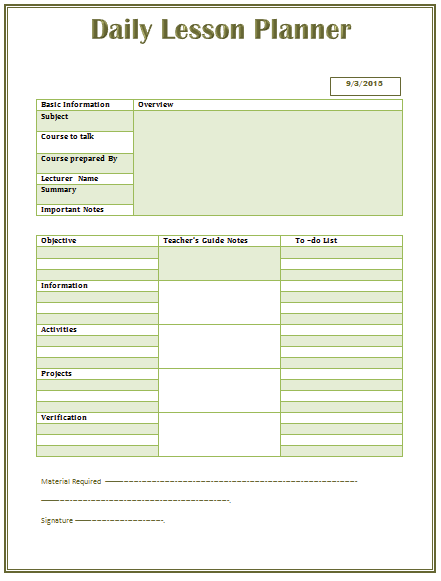 Lesson Plan Template For Middle And High School - Template lesson plan