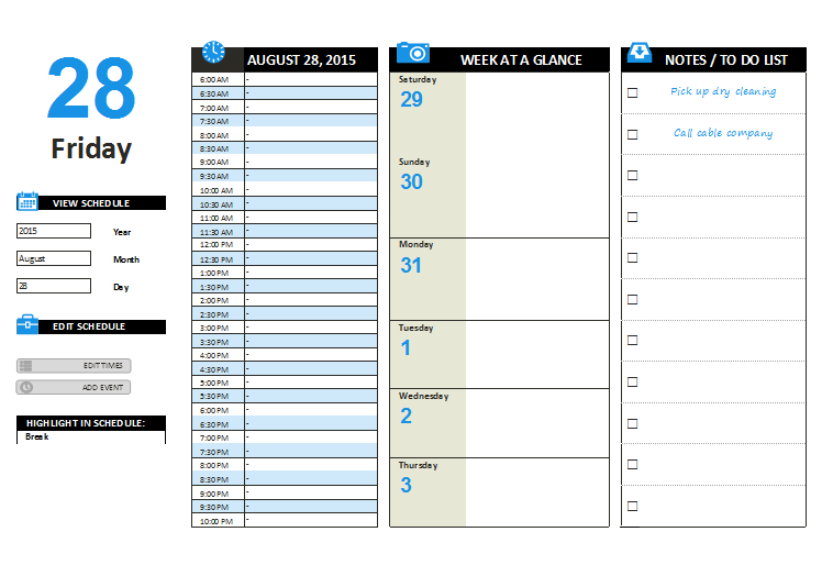 photograph relating to Daily Planner Template named Day by day Planner Template