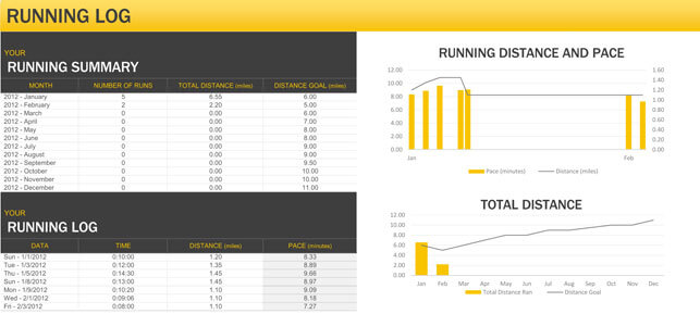 Daily Exercise And Running Log Templates - Download In Excel And Pdf