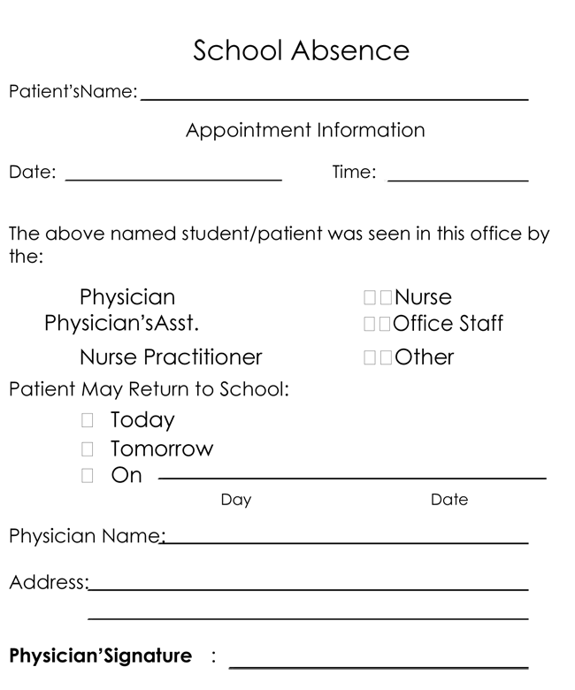 Doctors note template 10 professional samples to create notes doctor appointment note for school spiritdancerdesigns Choice Image