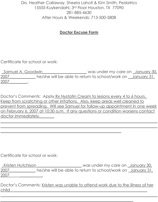 Doctors Note Template PDF