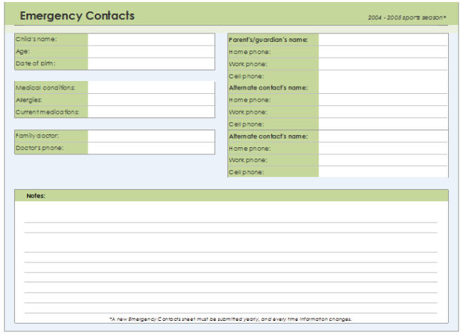 Emergency Contact Form Template for Excel®