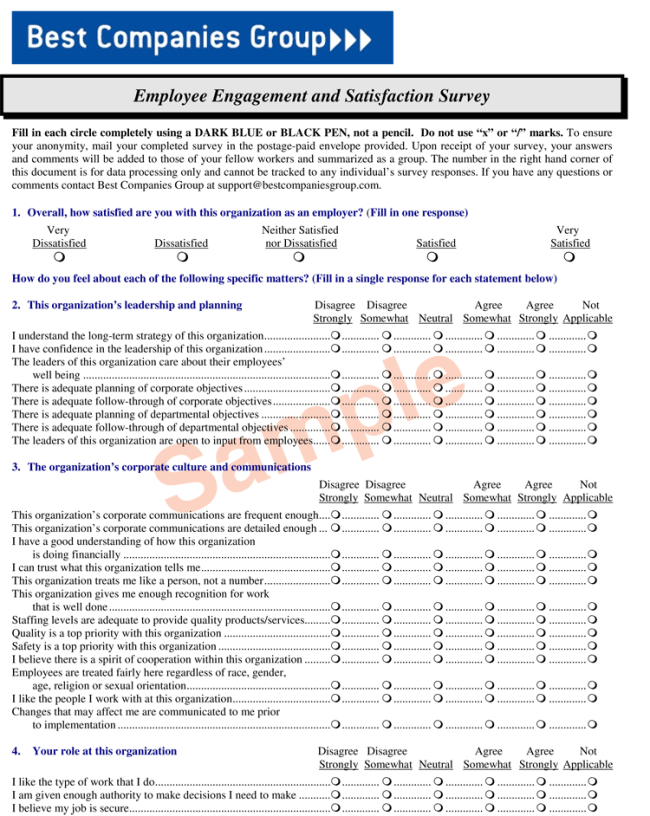 Employee Satisfaction Survey Sample and Templates