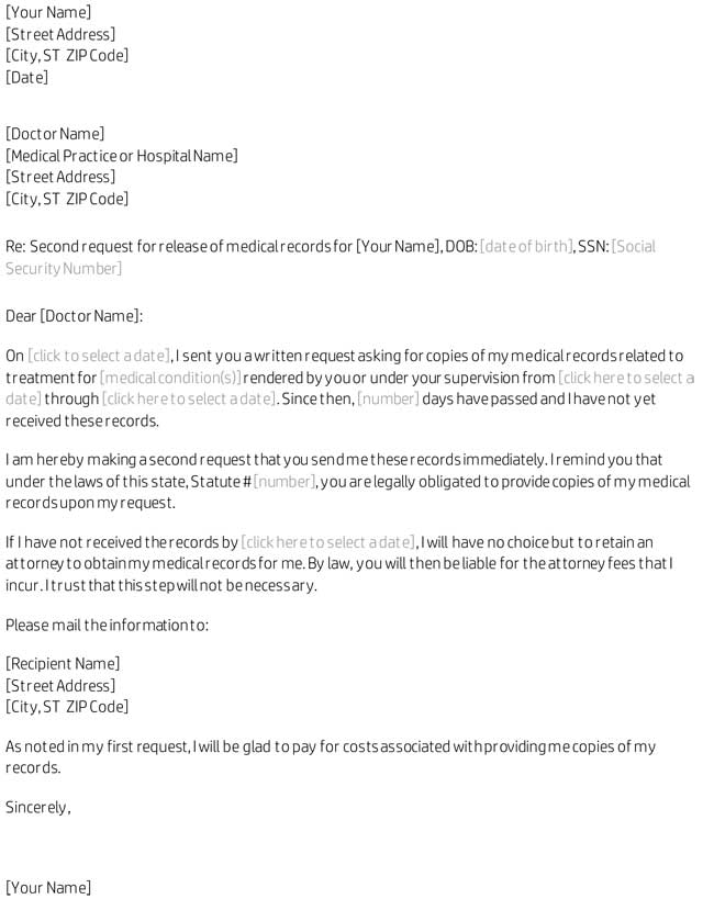 request medical records letter