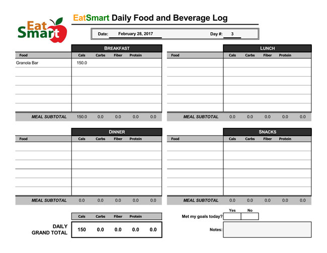 Food log Spreadsheet