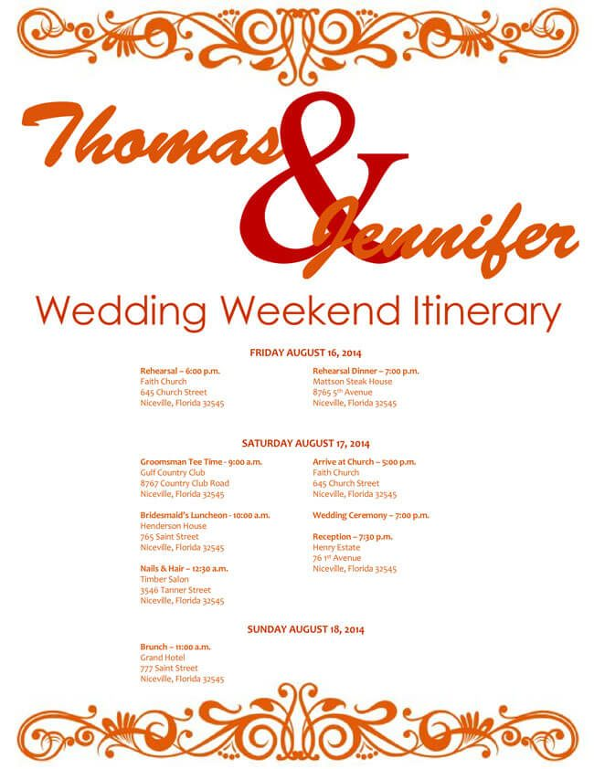 Free Wedding Itinerary Templates