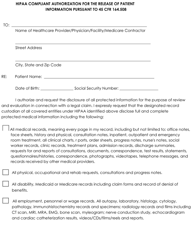 Medical records release form templates free printable forms for General release of information form template