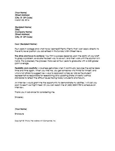 Graduate Resume Cover Letter Template