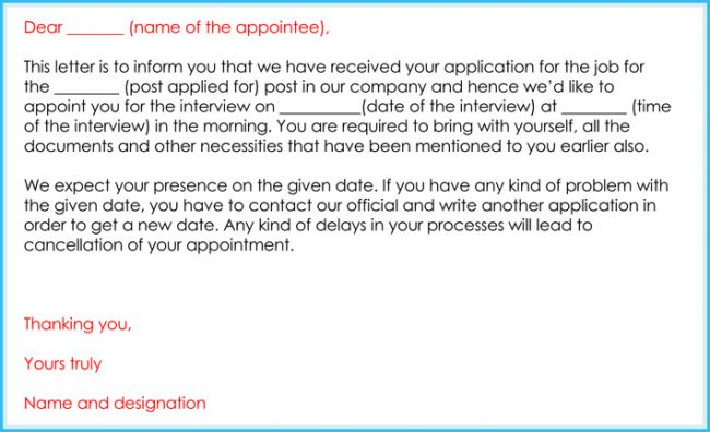 simple interview appointment letter