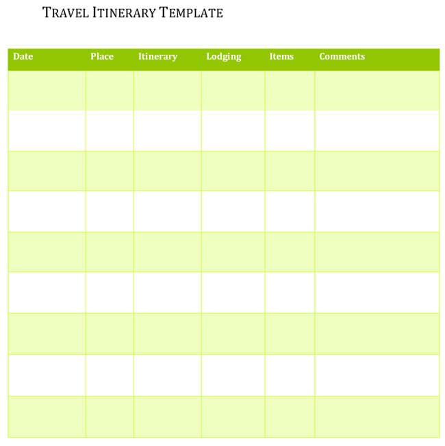 5 travel itinerary templates for excel and word. Black Bedroom Furniture Sets. Home Design Ideas