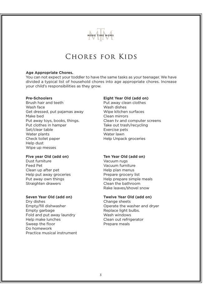 Kids Chore Chart 3