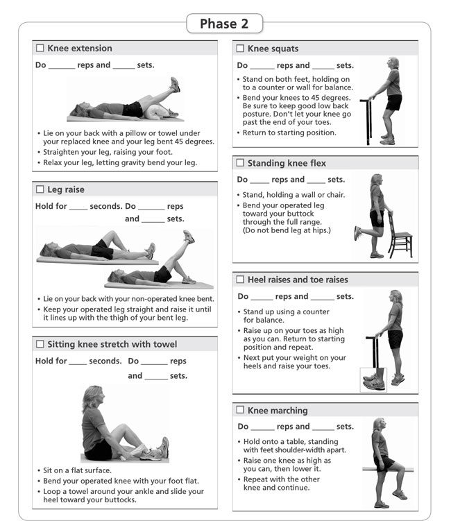 Knee Exercise Chart