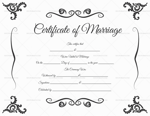 Marriage Certificate Template in PDF Format (DocFormats.com)