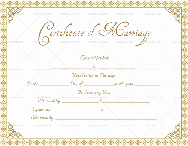 Marriage Certificate Template in Word (DocFormats.com)