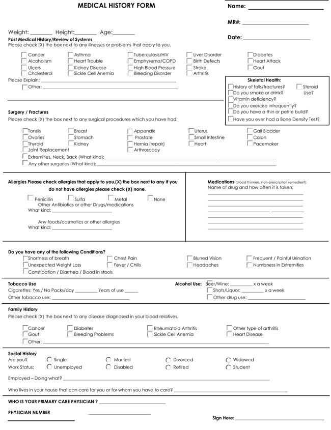 Medical History Form Samples Learn More About a Patients – Medical History Forms