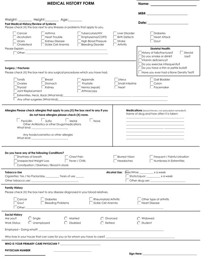 Medical History Form Samples PDF