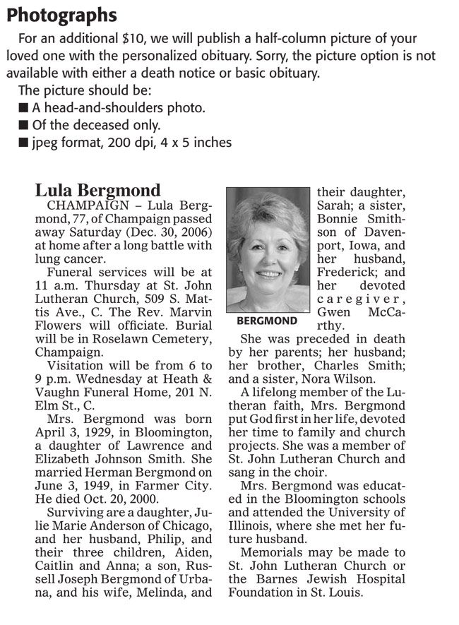 Newspaper Obituary Templates