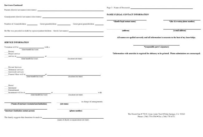Obituary Program Form