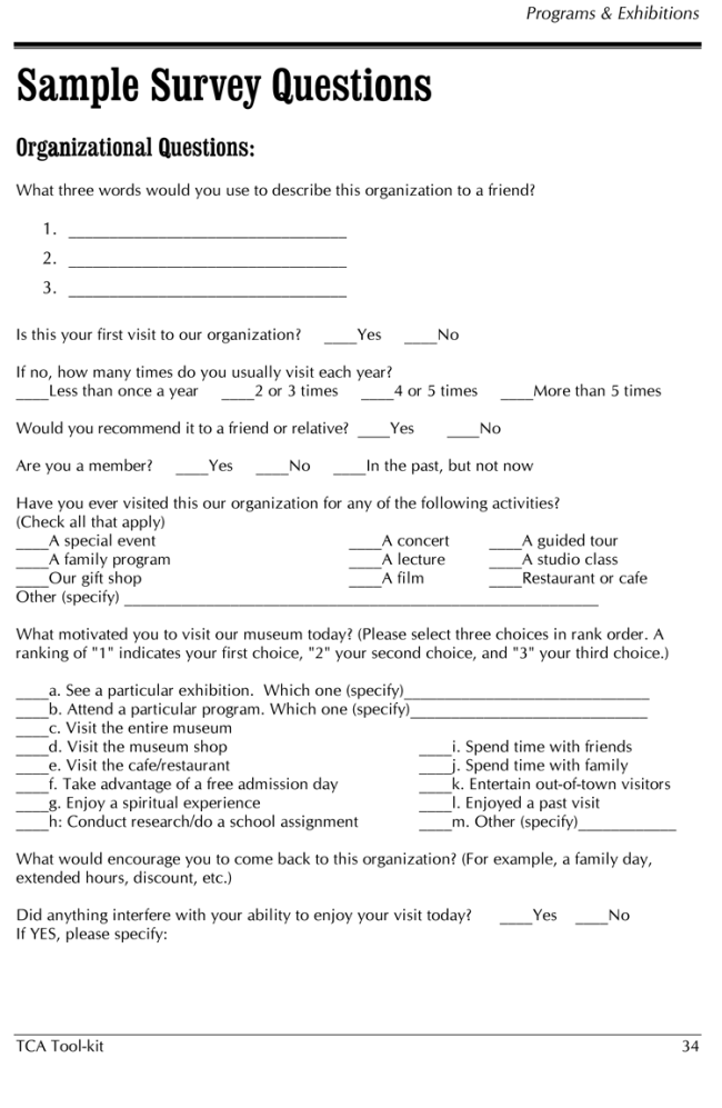 Advertisement Questionnaire Sample