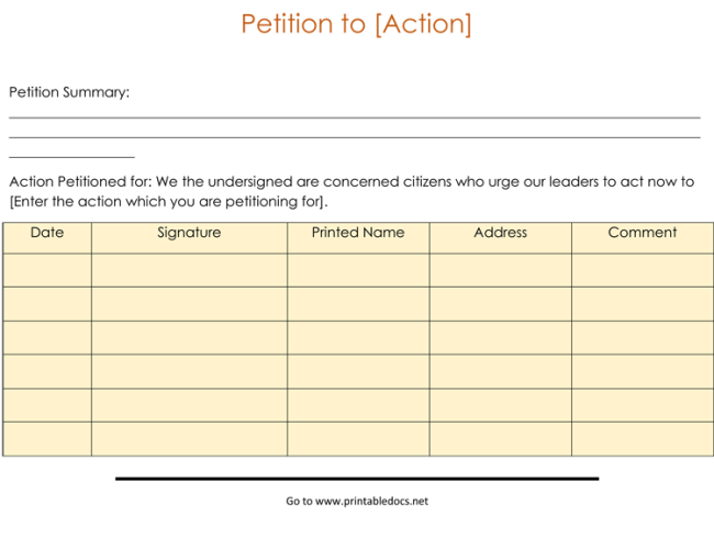 printable petitions petition forms templates - Melo.in-tandem.co