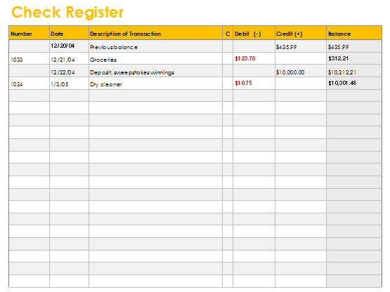 Checkbook Register Template – Check Register Template
