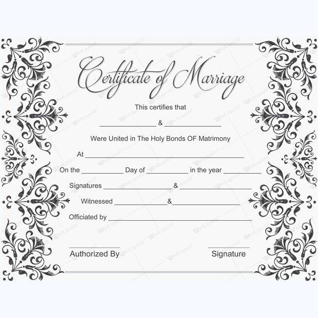 Printable marriage certificate word