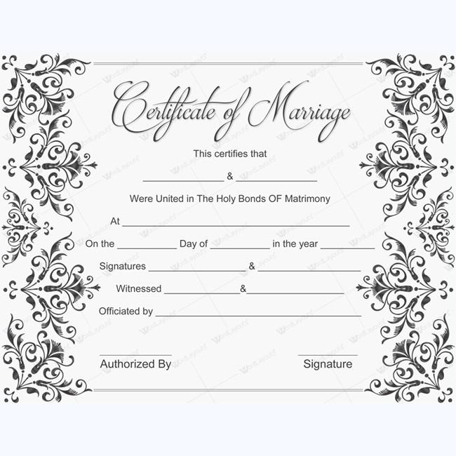 Printable Marriage Certificate Samples – Sample Marriage Certificate