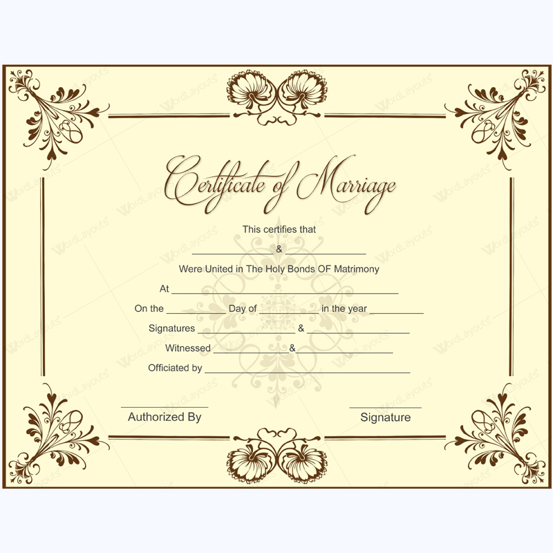 graphic about Printable Marriage Certificates named Printable Partnership Certification Samples