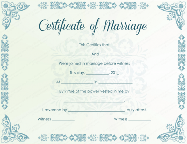 Marriage certificate examples