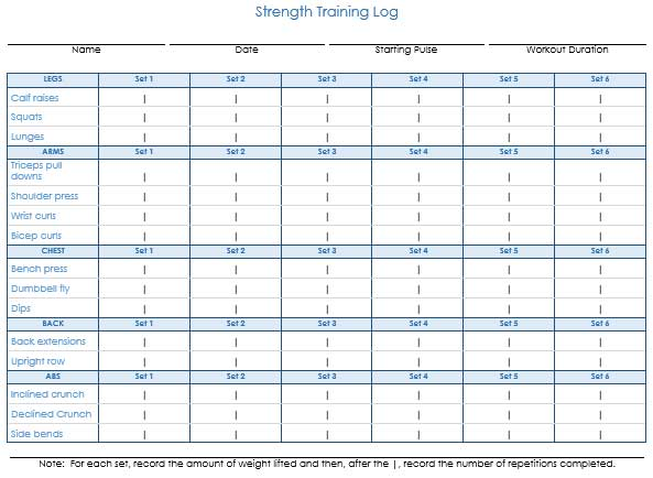 Printable Strength Training Workout Log Templates