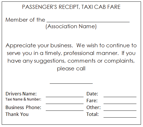 Taxi Receipt Template Word. - Google Search